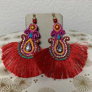 Zara red tassel beaded statement earrings
